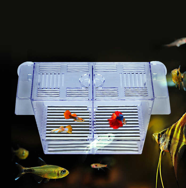 Aquarium Transparent Double Bowl Fighting Fish Mini House Incubator Box For Fry Isolation Hatchery Reptile Cage Turtle House 23