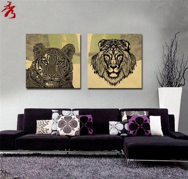 aliexpress.com : acquista lion tiger disegni soggiorno tela ... - Disegni Su Pareti Soggiorno 2