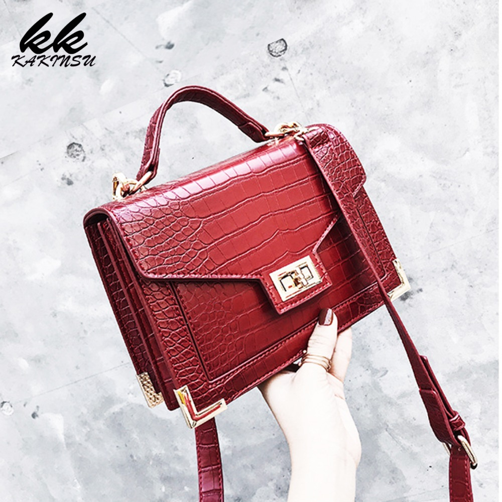 2019 New Quality PU Leather Women Crocodile pattern Tote bag Fashion Female Square bag Lock Shoulder Messenger Bags For Woman square pu tote bag
