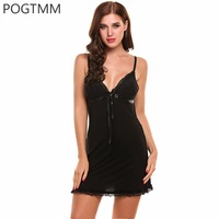 POGTMM Summer Women Sleeveless Nightgown Lace Trim Full Slip Chemise Lounge Dress Lady Sexy Lingerie Hot