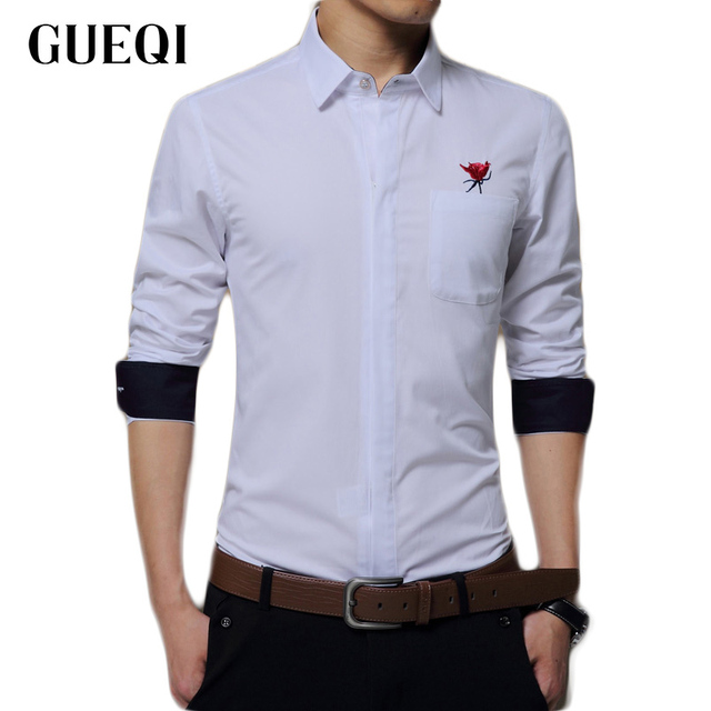 New Arrived 2017 Embroidered Flower Mens Work Shirts Brand Long Sleeve  Dress Shirts White Slim Fit
