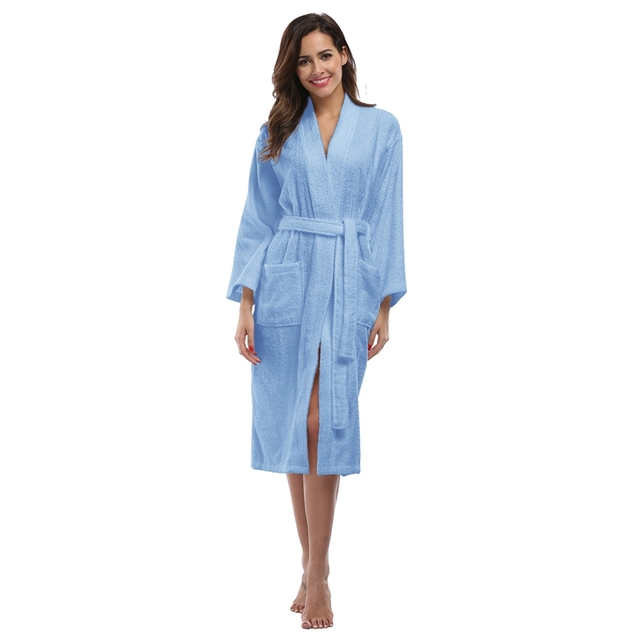 Women\'s Cotton Bathrobe Full Sleeve Sleep Lounge Robes Turkish ...