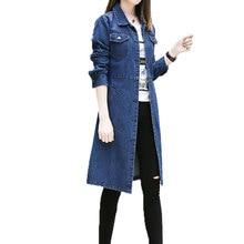 Női Plus Size Férfi dzsekik Tavaszi őszi divat Női kabátok Laza hosszú farmer kabát Női Casual Outwear