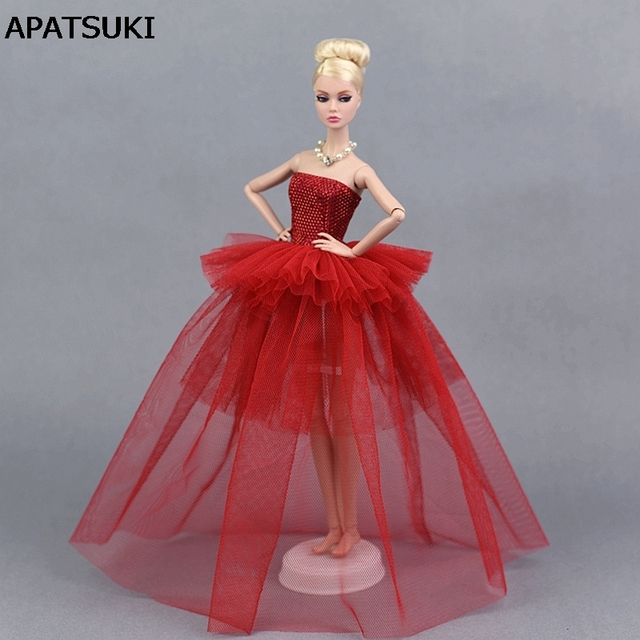 Chinese Red Party Dress For Barbie Doll Clothes Multi-layer Evening Gown  Wedding Dresses 1 6 Doll Accessories 45408adcc
