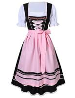 2018 New Womens Traditional German Bavarian Beer Girl Costume Sexy Oktoberfest Wench Maiden Dirndl Dress+Blouse+Apron