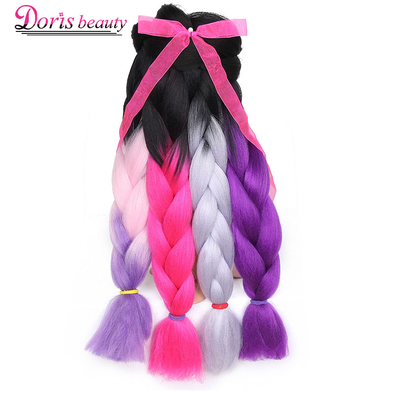 Doris Beauty Synthetic Braiding Hair 24 Inch Jumbo Braids 100g/piece Ombre Kanekalon Fiber Hair Extensions Crochet Braids Hair Hair Braids