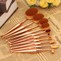 T2N2 10pcs Toothbrush Shape Soft Hair Makeup Brushes Rose Gold Face Eye Powder Foundation Eyeshadow Blush Brush Set