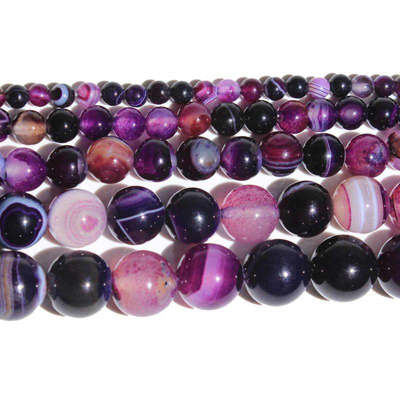 """15 """"ストランド天然石ビーズ紫色の縞模様の瑪瑙ラウンドのためにネックレスブレスレット 4- 12 ミリメートル"""