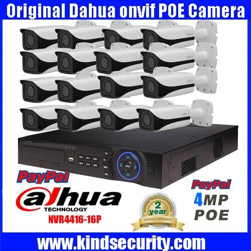 DAHUA NVR4416 16P 16ch 5MP smart POE IP camera system kit 16PCS DAHUA IPC HFW4421E 4MP