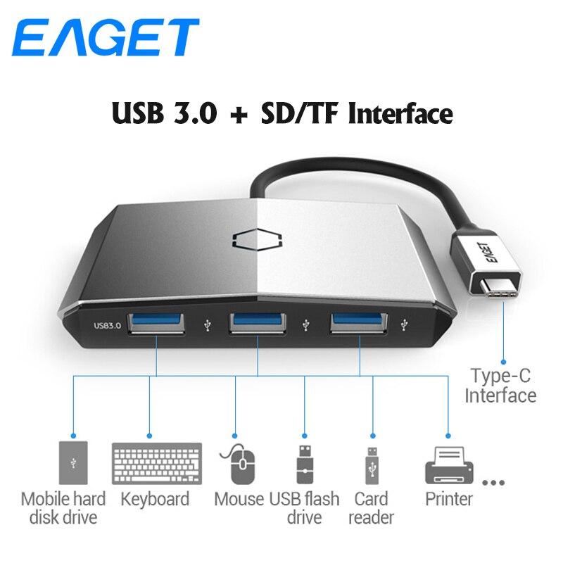 Eaget CH35 Carte Lecteur 4 dans 1 USB C HUB OTG Splitter Type C À USB 3.0 SD/TF lecteur de carte 5 Ports Pour MacBook Type-C USB HUB
