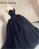 2019 New vestido de festa Ball Gown Sweetheart Sleeveless Floor Length Dresses Black Long Prom Dresses robe de soiree courte