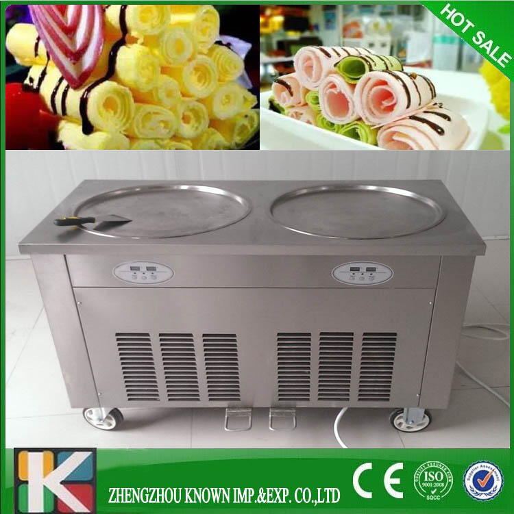 Brand double compressor thailand fry roll ice cream machine