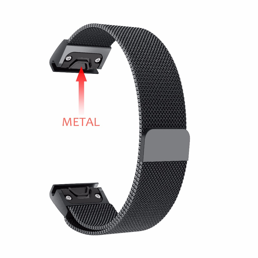 Stainless Steal Band for Garmin Fenix 5/Forerunner 935 Strap Black Color Quick Fit WatchBand 22mm Width Milanese Metal Strap garmin forerunner 935 black