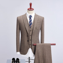 Loldeal Slim Fit Men Business Suit Solid Color Tweed Dark Grey Khaki Wedding 3 Piece Casual Formal Groom For M-4XL