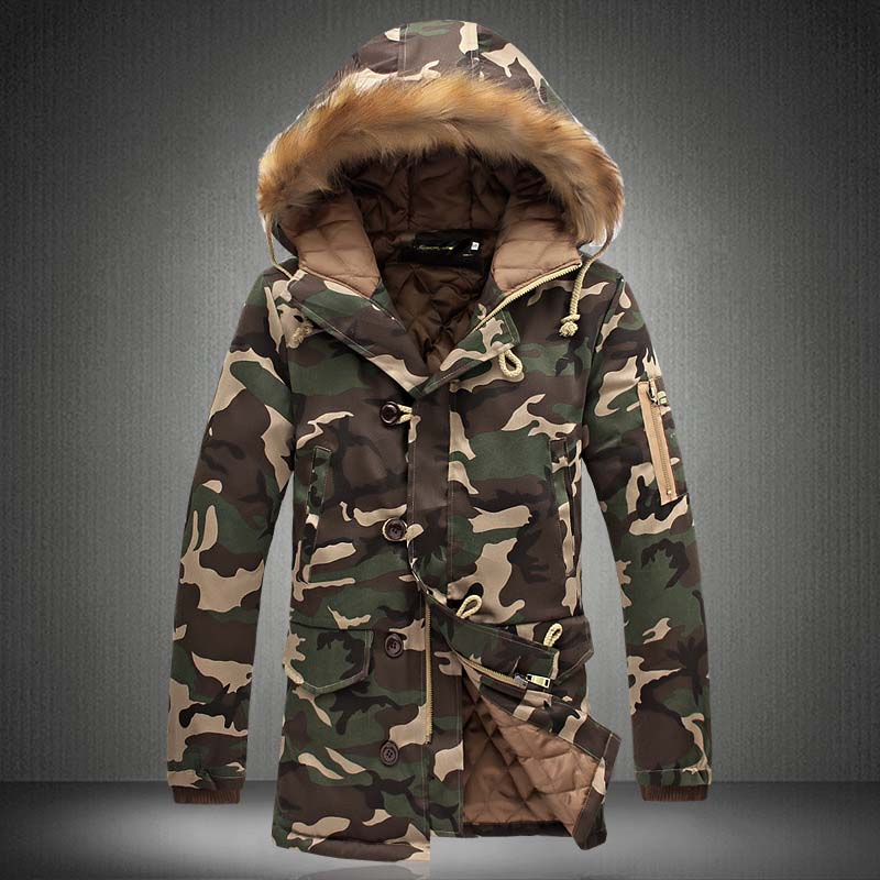 New Winter Men\`s Camouflage Jacket and Coats With Fur Hood Warm Thick Parka Fashion Designer Male Outwear Coats (10)