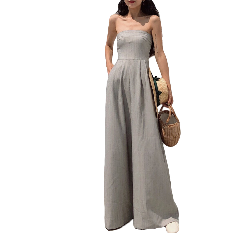 2018 Summer New Plus Size Fashion Women Casual High waist Loose Wrapped chest Wide leg trousers Vintage Female jumpsuit L0035