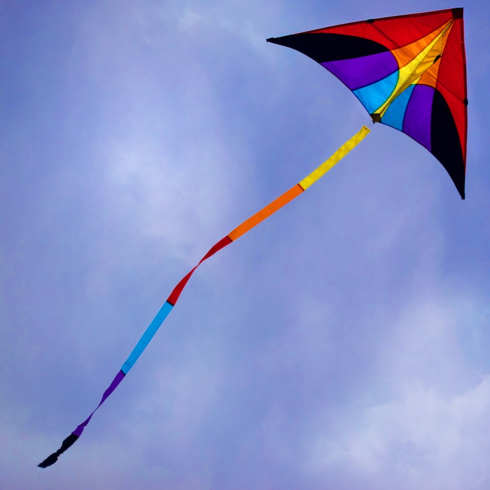 Easy Flying Delta Kite Single Line Ripstop Nylon Rainbow Kite with 100m Kite Line String for Beginner Adults Kids Toy Gift 16 colors x vented outdoor playing quad line stunt kite 4 lines beach flying sport kite with 25m line 2pcs handles