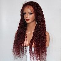 Eversilky 99j красный натуральные волосы Искусственные парики для черный для женщин вьющиеся волосы Remy бразильский полный кружево парик натурал