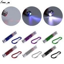 цена на 3 In 1 Portable Kaychain LED Flashlight Mini Laser Pen UV Counterfeit Light