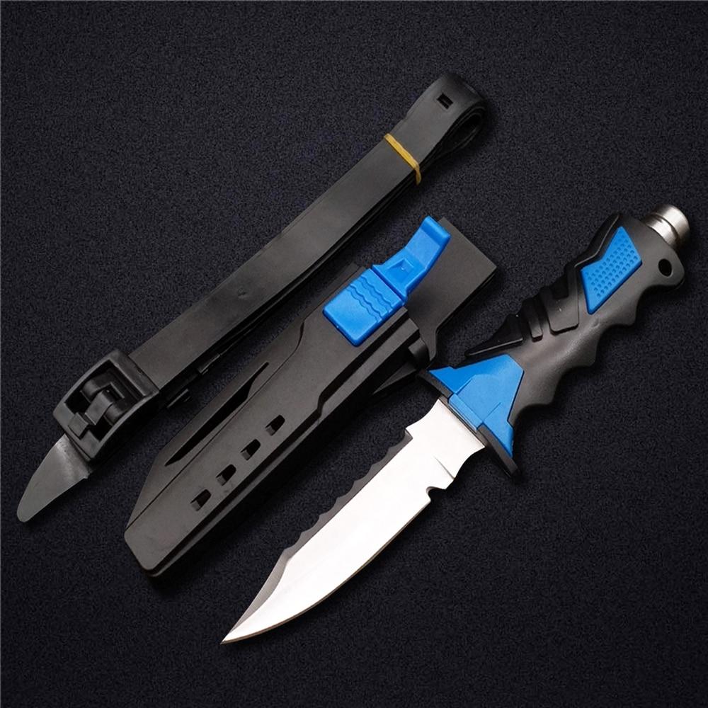 DOXA Deepsea Scuba Diving Fixed Blade Knife 440C Titanium Stainless Steel Professional Leggings Straight Knives& ABS Sheath