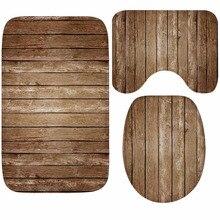 3 uds estampado Vintage conjunto de alfombras de baño alfombra de baño antideslizante alfombra de Pedestal cubierta de la tapa del inodoro