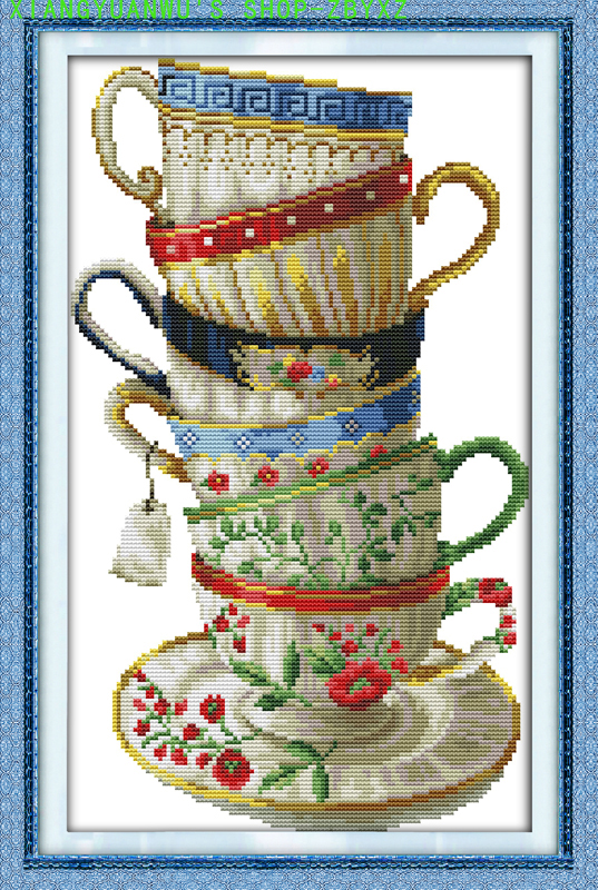 XIANGYUANWU'S SHOP-ZBYXZ 14CT Printing 11CT Cross stitch,Sets For Embroidery kits elegant colors coffee tea cup Cross-Stitching