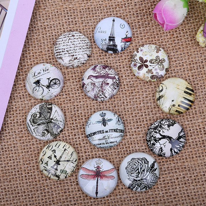 24pcs 12/14/16MM Restore Antique Ways Element Pattern Round Handmade Photo Glass Cabochons Glass Dome Cover DIY Handmade Cabocho