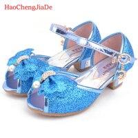 Bambini sandali di cuoio degli alti talloni delle ragazze 2018 Nuova moda principessa estate elsa scarpe chaussure enfants fille sandalias nina