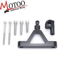 Motoo CNC Motorcycle Adjustable Steering Stabilize Damper Bracket Mount Kit For Kawasaki ZX6R ZX 6R 07