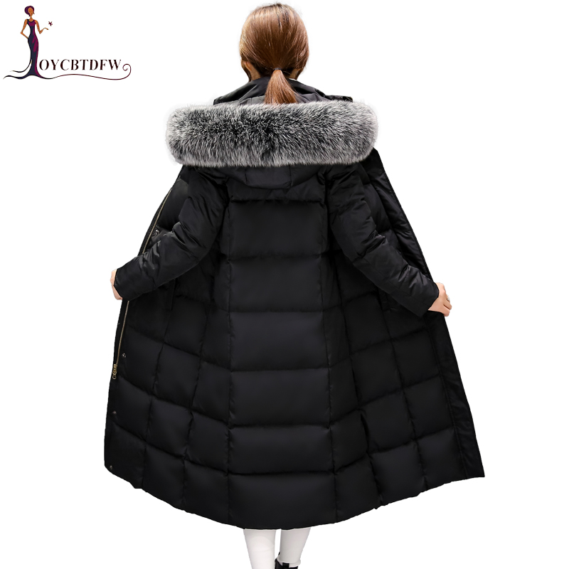 Winter Women Down jacket 2018 Fashion New Solid Color Long High Quality Hooded Thickening fur Collar Warm Female Down jacket0345