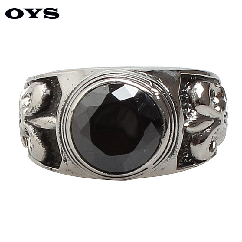 Wholesale Retro Men Cross Flower Black Onyx Rings Wedding Bands Rings For Men Stainless Steel Party Jewelry Free Shipping