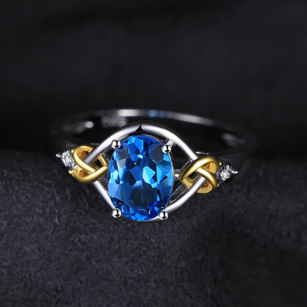 JewelryPalace Love Heart Knot 1.5ct Natural Blue Topaz Real Diamond - Fijne sieraden - Foto 4