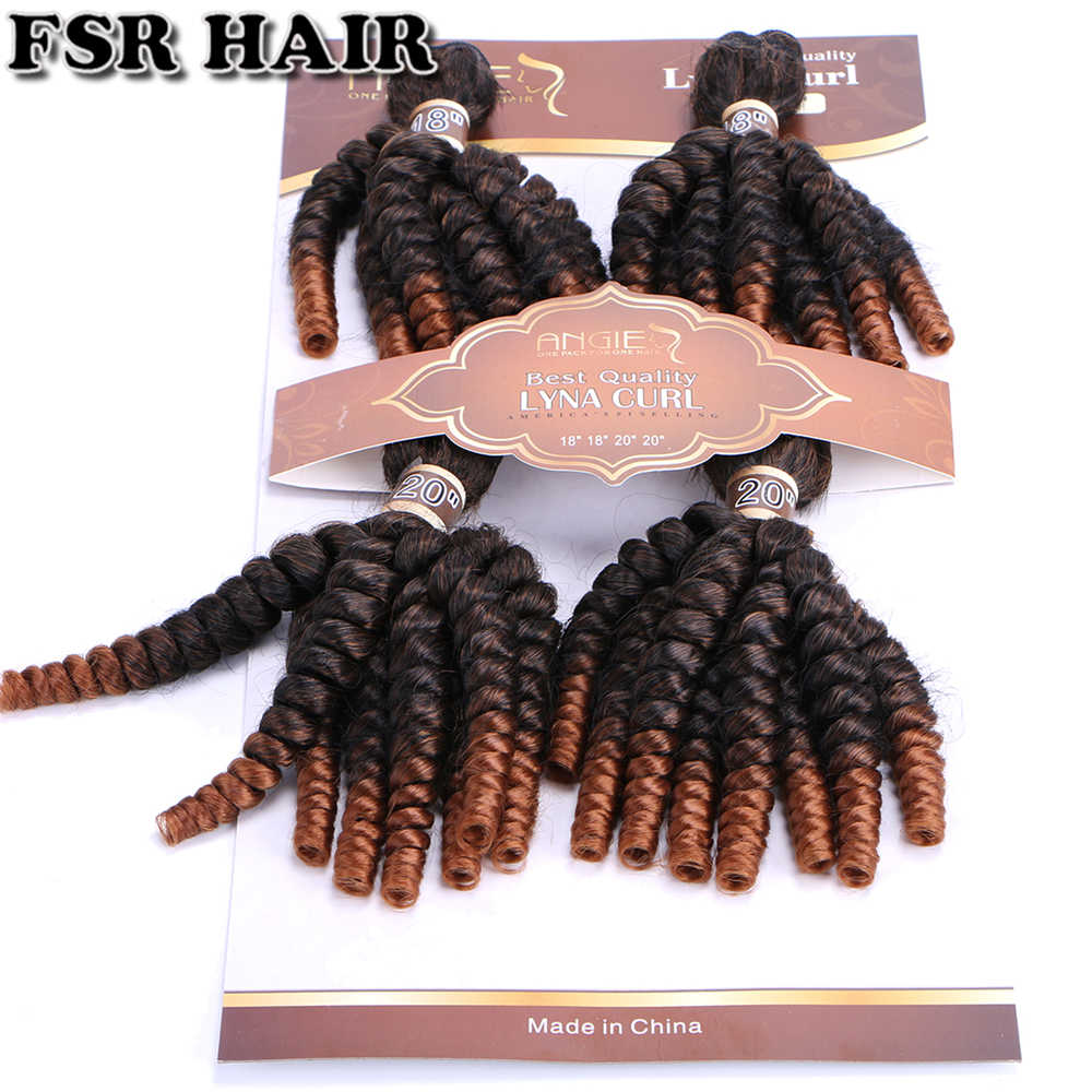"FSR Funmi Curly hair bundles 18"" 18"" 20"" 20"" Afro Curly Wavy Hair Style black ombre hair Extension synthetic hair weave"