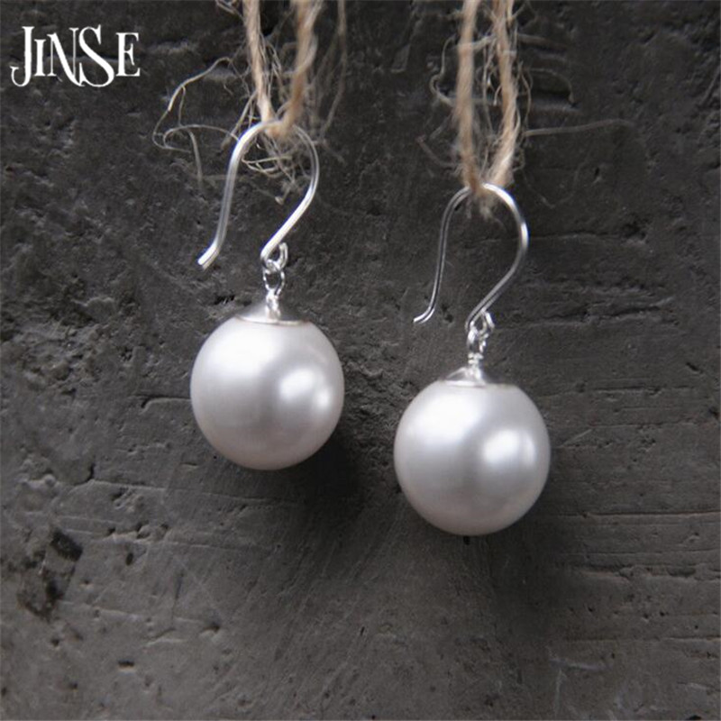 JINSE New Fashion Shell Pearl Earrings For Women High Quality S925 Pure Silver Jewelry 6mm 8mm 12mm