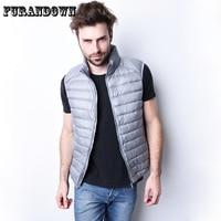 Men Winter Down Vest Ultra Light Down Sleeveless Jacket Mens Brand 90 White Duck Down Vest