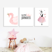 Pink Princess Paintings Cartoon Swan Poster Baby Room Posters Nordic Style Painting Pictures for Girls Kids Unframed