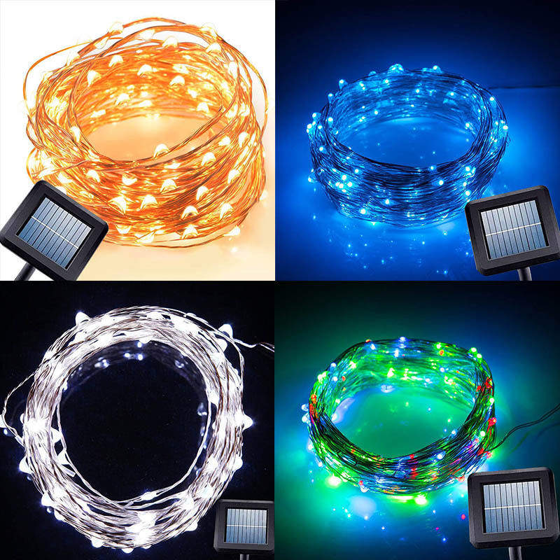 10M 100 Led Solar Power String Light Copper Wire String Fairy Light For Outdoor Living Decoration