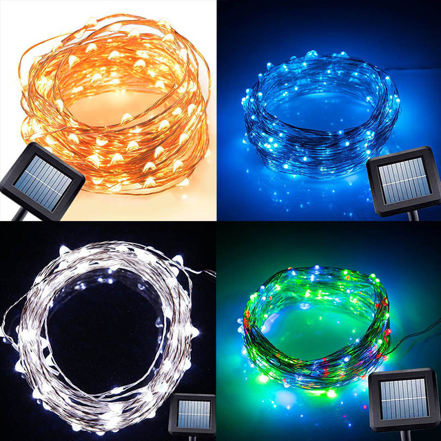 Fairy Lights On Copper Wire | 10m 100 Led Solar Power String Light Copper Wire String Fairy Light