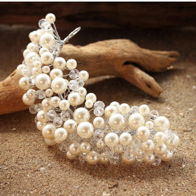 New hairstyle braider pearls crown wedding rhinestone tiara pearl wedding crown crystal hair accessories bride head hair jewelry