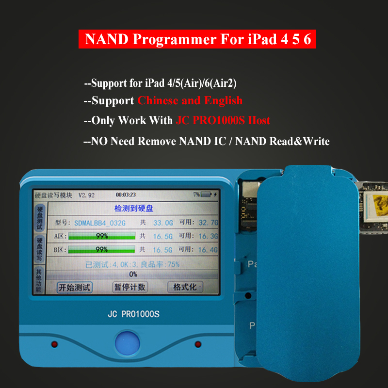 JC Pro1000S NAND Read Write Programmer Non Removal IC Chip Module for iPad 4 5 6