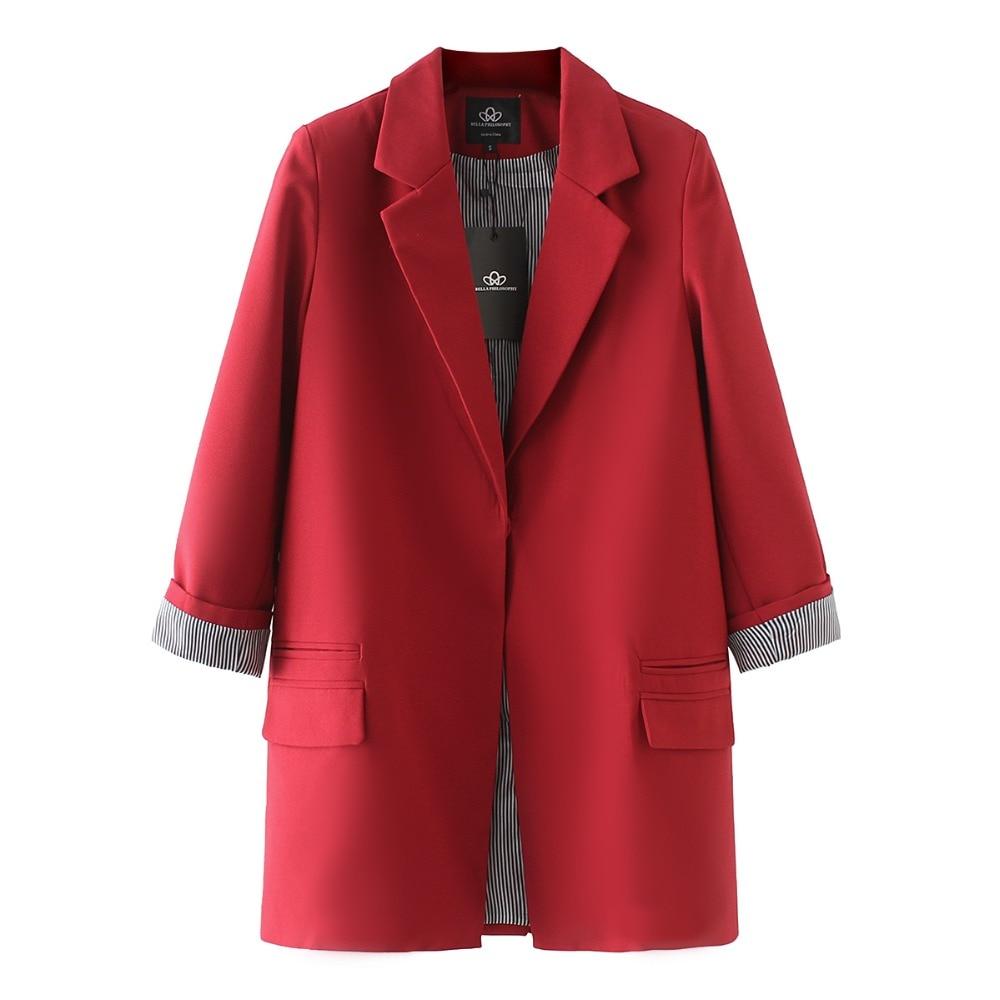 Bella Philosophy 2018 Spring women plus size long jacket double pockets long sleeve jacket coat S-XXXL outwears 4