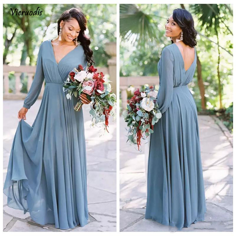 63-1             2019 New Cheap Country Bridesmaid Dresses Chiffon A Line V Neck Long Sleeves Floor-Length Country Wedding Party Dresses Maid of Honor Gowns