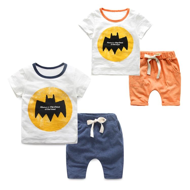 ФОТО Baby cartoon set child summer clothing children's 2017 100% cotton t-shirt shorts male casual child set
