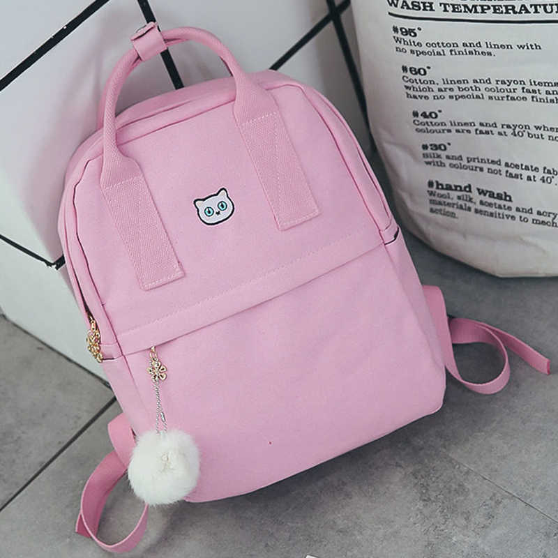 Women Backpack For School Teenagers Girls Vintage School Bag Ladies Canvas Backpack Female Yellow Red Black Pink Bookbag Mochila