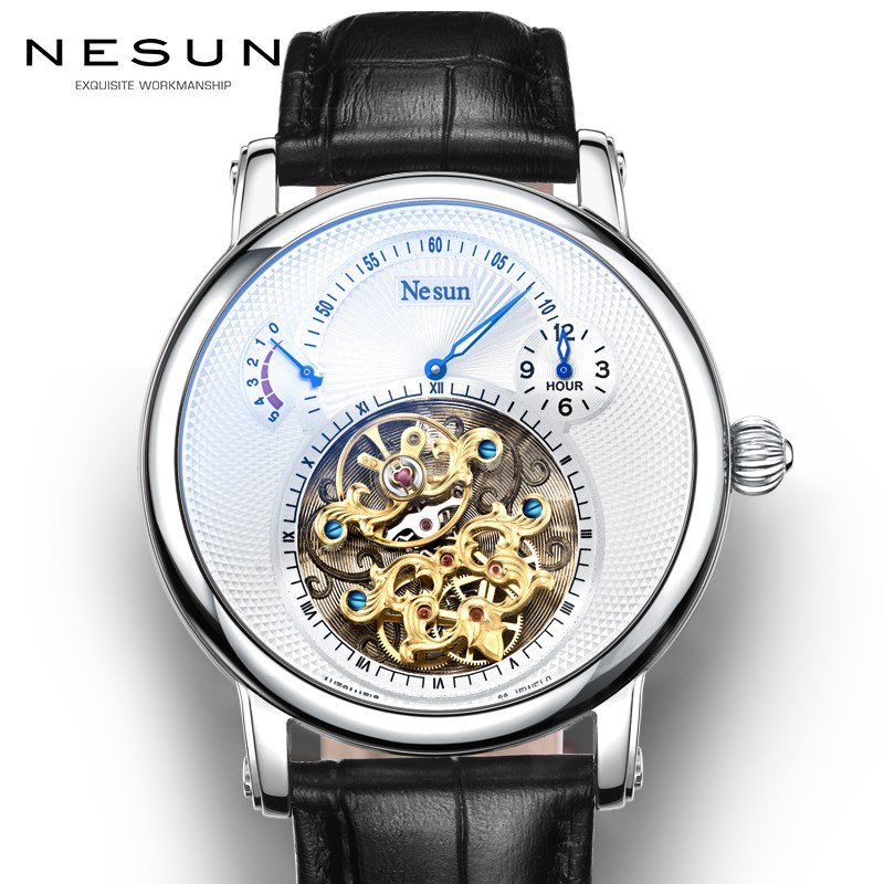 Suisse Marque De Luxe Nesun Creux Tourbillon Hommes Automatique Mécanique Hommes de Montres Saphir Étanche horloge N9081-4