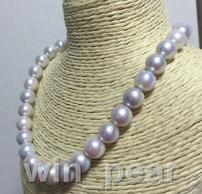 10 11mm AAA tahitian natural south sea light grey pearl necklace 18inch