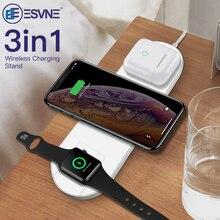ESVNE 3 IN 1 QI Kablosuz iphone şarj cihazı X Xr XS Max Hızlı Şarj Elma Izle 1 2 3 4 airPods şarj Için Samsung