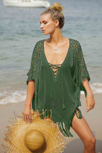 купить Melflow Sexy See-through Beach Dress Ladies Beach Cover Up Bikini Crochet Knitted Tassel Tie Beachwear Summer Fringe Sundress дешево