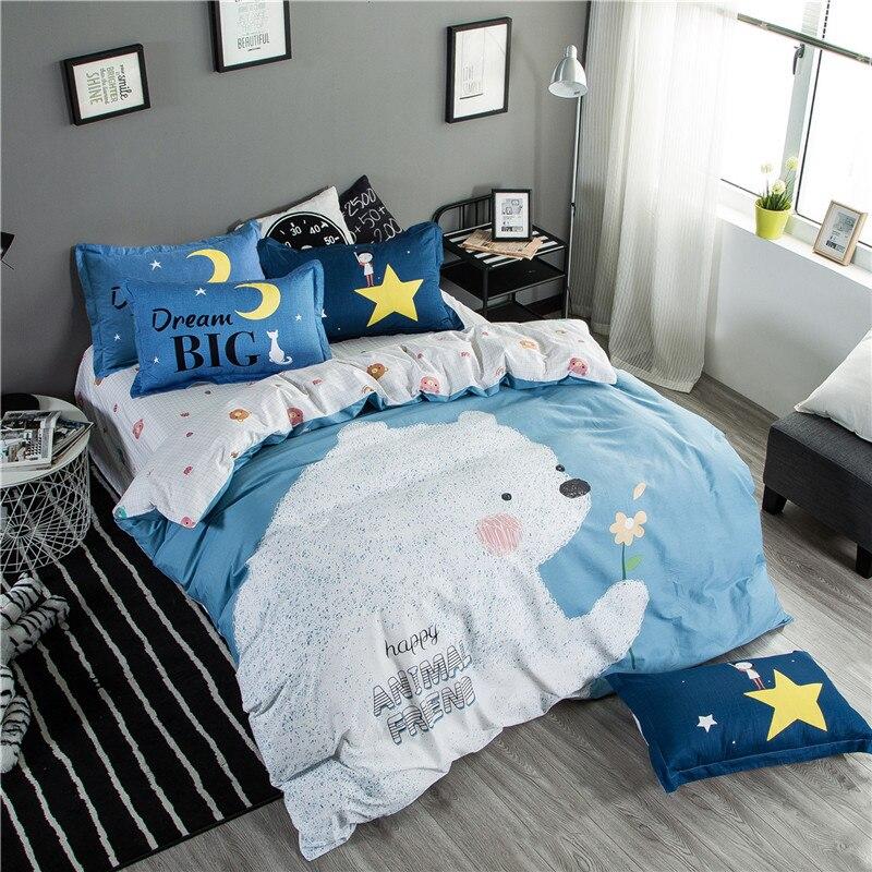 Cartoon Bear Queen Full Size 3/4PCS Cartoon Style Cotton Bedding Set Duvet Cover Bed Linen Bed sheet Pillowcases Gift For Child