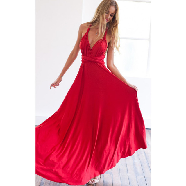 Sexy Women Boho Maxi Club Red Dress